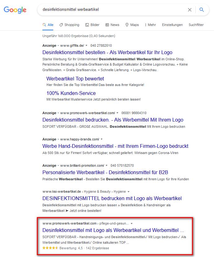 Google-Suche Promowerk Werbeartikel